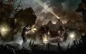 Картинка огонь, рисунок, башня, дома, луч, выстрел, деревня