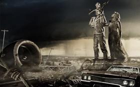 Картинка машина, город, апокалипсис, семья, импала, пустош