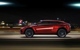 Обои ночь, город, внедорожник, Lamborghini Urus Concept 2012