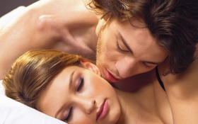 Обои парень, девушка, поцелуи, нежность