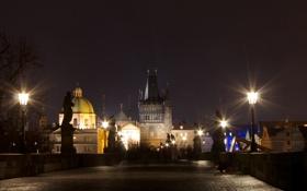 Картинка Чехия, башня, Карлов мост, ночь, Прага, огни