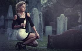 Картинка девушка, фон, свеча