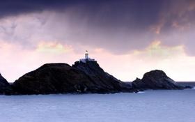 Картинка море, пейзаж, ночь, скалы, маяк