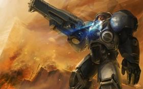 Обои огонь, дым, развалины, винтовка, десант, Starcraft