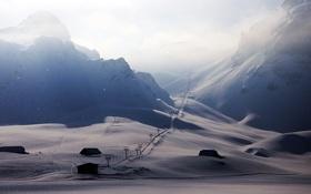 Картинка зима, дорога, снег, пейзаж, горы, дома