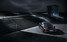 Обои машины, ночь, огни, чёрные, чёрный, Porsche, тачка