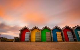 Картинка песок, пляж, небо, краски, цвет, пляжный домик