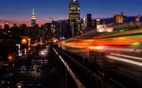 Обои дорога, свет, машины, ночь, город, метро, поезд