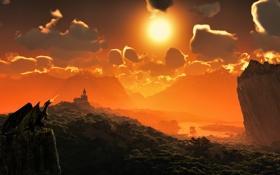 Обои небо, солнце, облака, замок, дракон, корабли