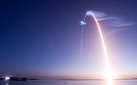 Обои море, пейзаж, вечер, ракета