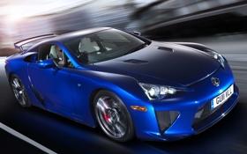 Картинка синий, скорость, размытие, Lexus, blue, лексус, UK-spec