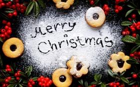 Обои зима, ягоды, еда, Новый Год, печенье, Рождество, красные