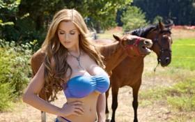 Картинка травка, фотомодель, немка, лошадки, Jordan carver