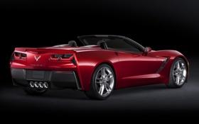 Обои Corvette, Chevrolet, red, supercar, fon, Convertible, Stingray