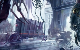 Обои город, механизм, робот, вагоны, арт, крысы, dishonored