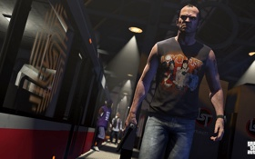 Картинка метро, gta 5, Grand Theft Auto V, поезд, тревор, взгляд, оружие