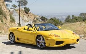 Картинка желтый, Феррари, Ferrari, 360, передок, спайдер, Spider