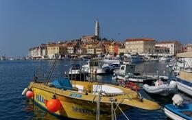 Картинка небо, море, лодки, яхты, бухта, дома, Хорватия