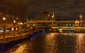Картинка ночь, мост, река, дома, фонари, США, набережная