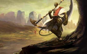 Обои оружие, скалы, существо, воин, арт, коса