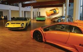 Обои Lamborghini, музей, автомобилей, Diablo, Miura, Countach