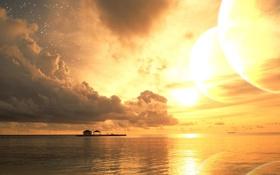 Картинка море, лето, солнце, звезды, облака, закат