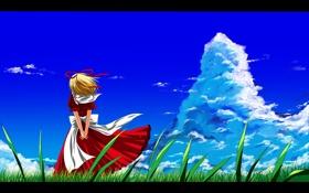 Обои трава, девушка, ветер, облако, платье, арт, touhou