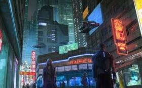 Обои ночь, город, улица, cyberpunk, прохожие