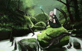 Картинка лес, девушка, река, камни, арт, маг, посох