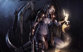 Обои девушка, жертва, крылья, арт, рога, серп, кулак