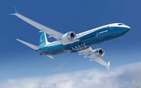 Картинка небо, облака, полет, самолет, Boeing, лайнер, боинг