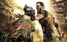 Картинка пистолет, герой, будущее, злость, Rage, джип