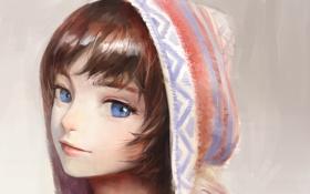 Картинка девушка, лицо, аниме, арт, капюшон, nababa