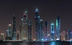 Обои lights, city, united arab emirates, night, marina, dubai