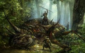 Картинка лес, деревья, монстр, лапы, лук, рога, копье