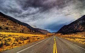 Обои дорога, облака, деревья, разметка, холмы