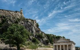 Обои перистые облака, небо, церковь Святого Георгия, история, скала, Старая крепость, отвесная