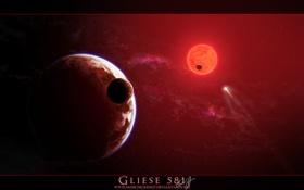 Картинка солнце, звезда, планета, спутник