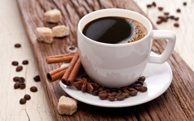Картинка кофе, зерна, палочки, чашка, сахар, белая, корица