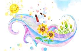 Обои солнце, бабочки, цветы, улыбки, детские обои, завиток