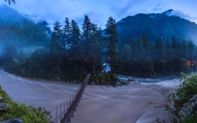 Картинка Химачал-Прадеш, горы, мост, река Парвати, Индия