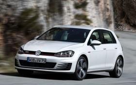Картинка дорога, авто, скорость, Volkswagen, вид спереди, Golf, GTI