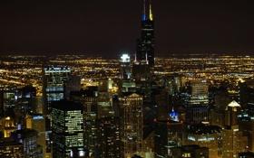 Обои ночь, огни, чикаго, небосребы, chicago