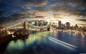 Обои город, манхеттен, бруклинский мост, New-York, Нью- Йорк