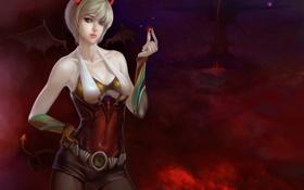 Картинка взгляд, девушка, дым, крылья, демон, хвост, рога