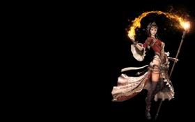 Обои огонь, фентези, девушка, маг. посох, арт, магия, игра