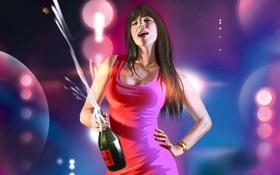 Обои девушка, шампанское, Gta, Gta4 Episodes from Liberty City