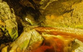Обои горы, река, ручей, камни, скалы, поток, пещера
