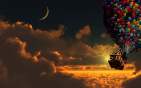 Обои облака, шарики, дом, луна, вверх, Moon, Pixar