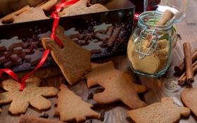 Обои ленты, праздник, коробка, еда, Рождество, Новый год, пирожное